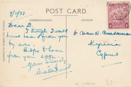 Barbados postcard of Crane Hotel sent to Cyprus March 1938 - reverse