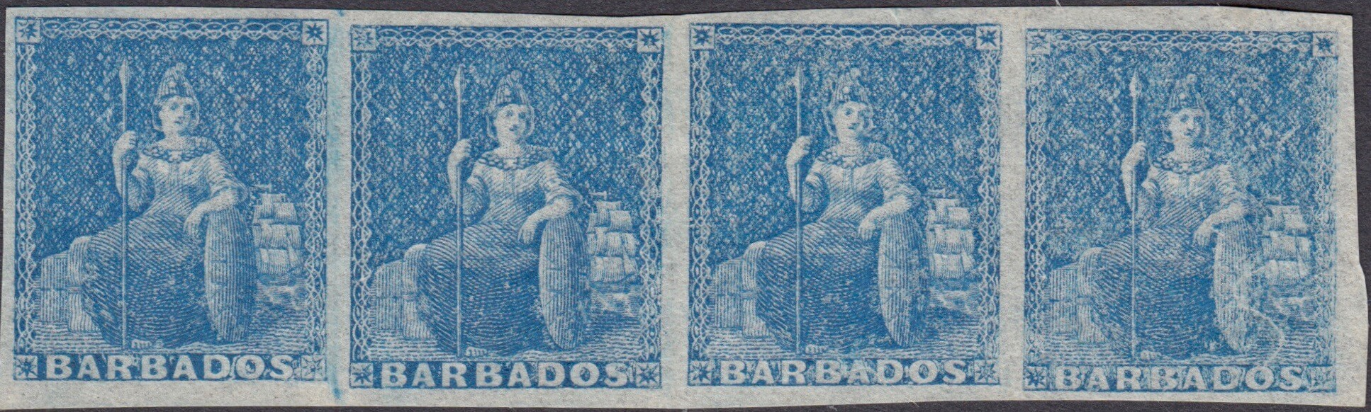 Barbados SG3 Britannia strip of four mint stamps