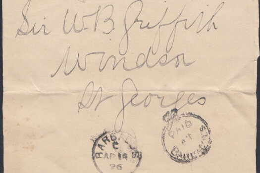 """1896 Newspaper Wrapper with """"Paid at Barbadoes"""" crowned circle cancel"""