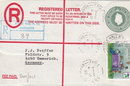 Barbados Registered letter to Germany 1983 - $1 Registered uprated with 55c stamp. Eagle Hall postmark