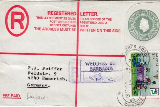 Barbados Registered letter to Germany 1983 - $1 Registered uprated with 55c stamp. Welches Road Postmark