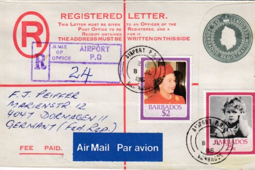 Barbados Registered letter to Germany 1988 - 50c Registered uprated with $2 and 25c stamps. Airport postmark