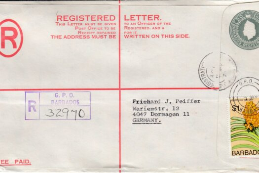 Barbados Registered letter to Germany - 50c Registered uprated with $1 stamp. GPO postmark