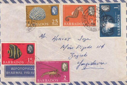 Barbados cover 1968 showing 1c Deep Sea Coral and 2c Lobster stamps as make up rate on letter to Yugoslavia