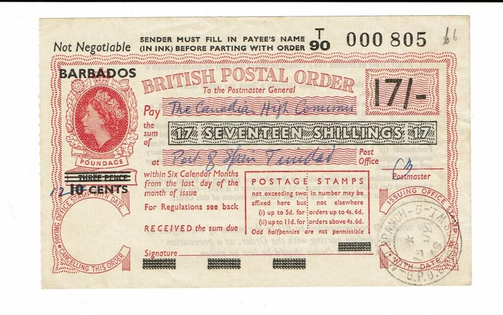 BARBADOS overprint on British Postal Order