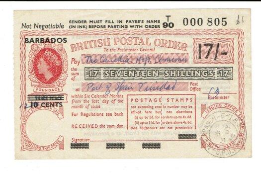 BARBADOS overprint on British Postal Order