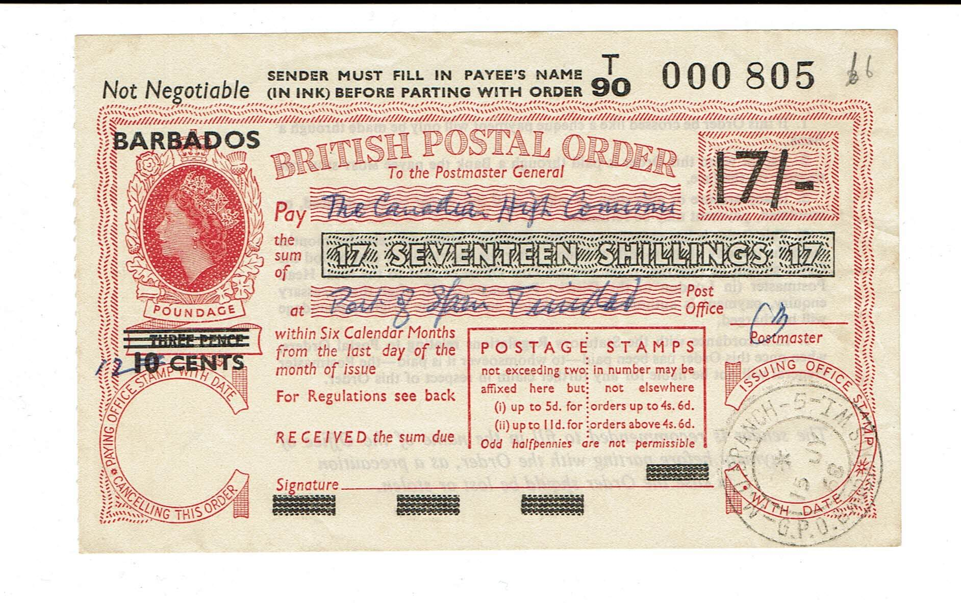 When was the last time you saw a Barbados Postal Order?