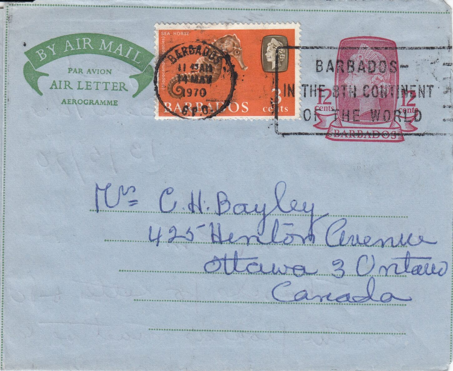 "Barbados Aerogramme with slogan cancel ""Barbados - in the 8th continent of the world"""