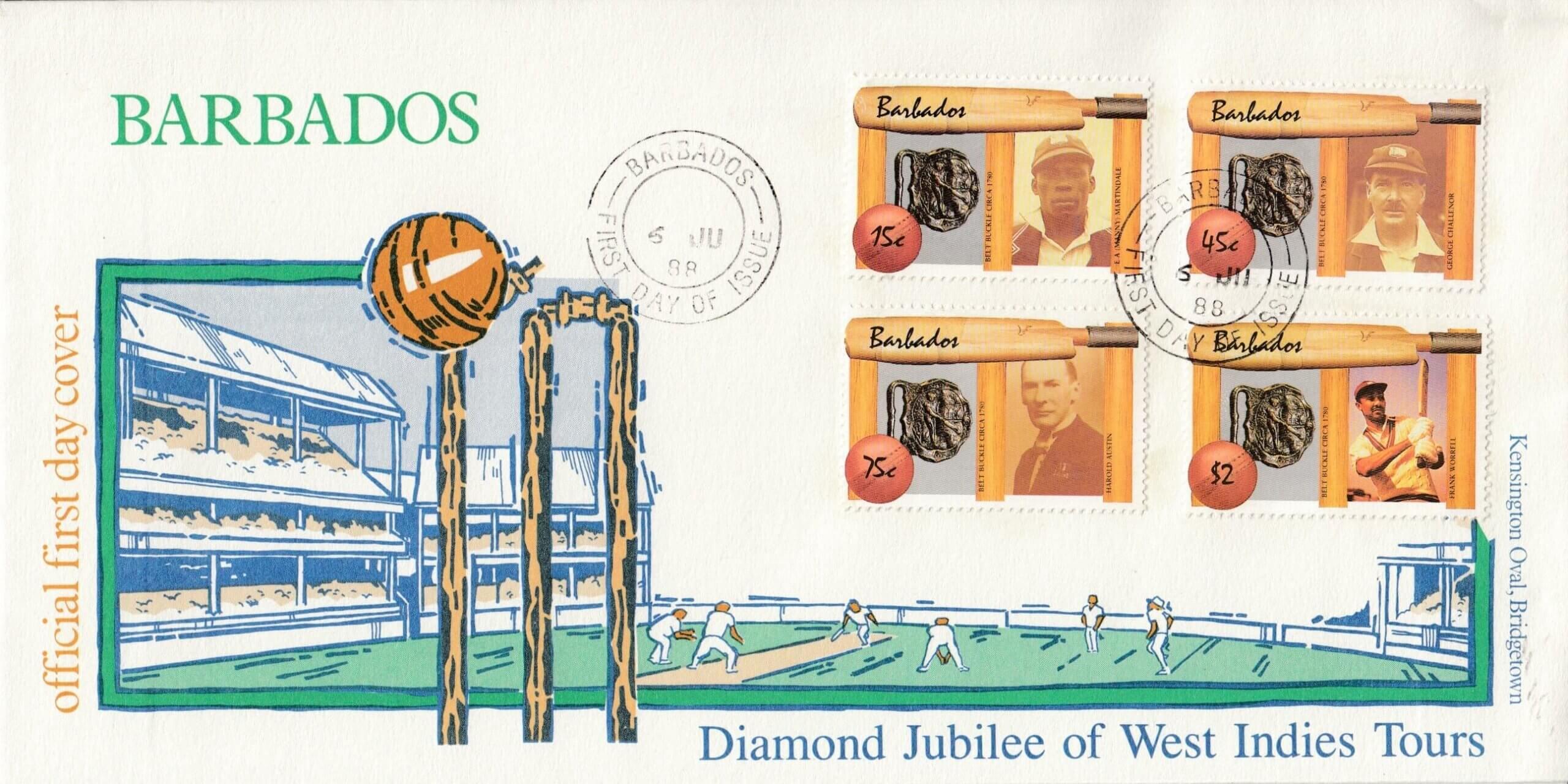 Barbados Cricketers FDC 1988
