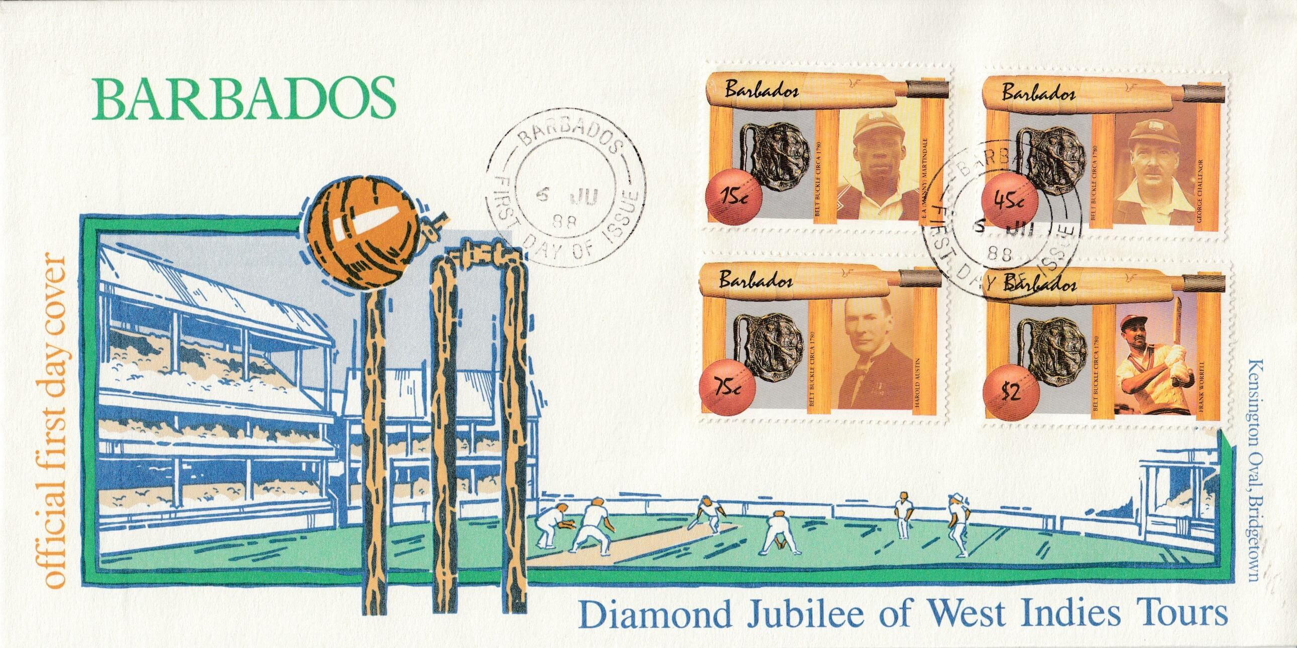 Barbados cricketers FDC highlights a famous philatelic mistake