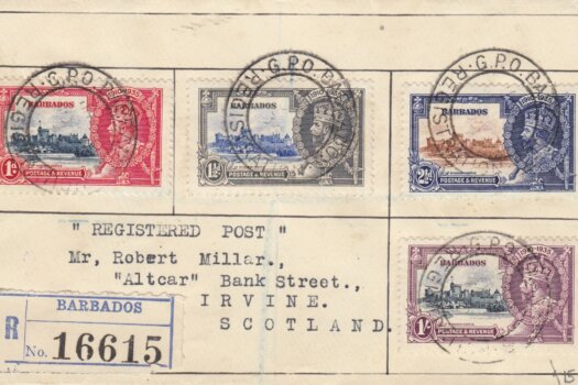 Barbados Silver Jubilee 1935 Registered FDC