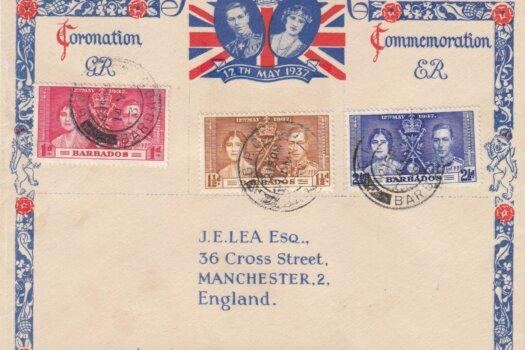 Coronation 1937 Barbados FDC - on Illustrated JE Lea Cover