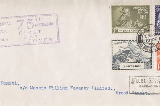 Barbados 1949 UPU FDC on plain cover with rubber handstamps