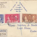 Coronation 1937 Barbados FDC - H Bayley Cover