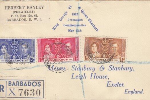 Coronation 1937 Barbados FDC - H Bayley Cover