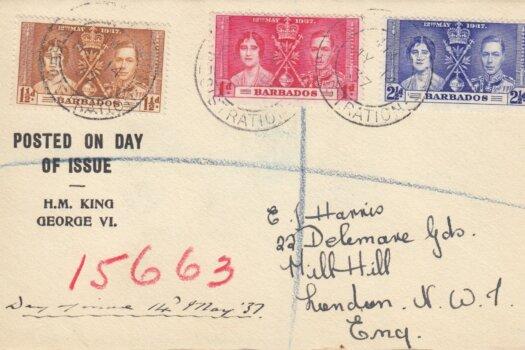 Coronation 1937 Barbados FDC - Printed Cover