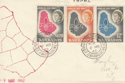 Barbados 1962 Boy Scout Association Golden Jubilee FDC - illustrated cover (2)