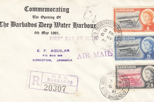 Barbados 1961 Deep Water Harbour FDC - plain cover