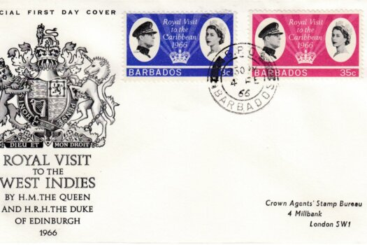 Barbados 1966 Royal Visit to the Caribbean FDC - illustrated cover