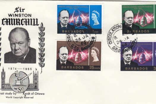 Barbados 1966 Sir Winston Churchill FDC - WSC illustrated cover