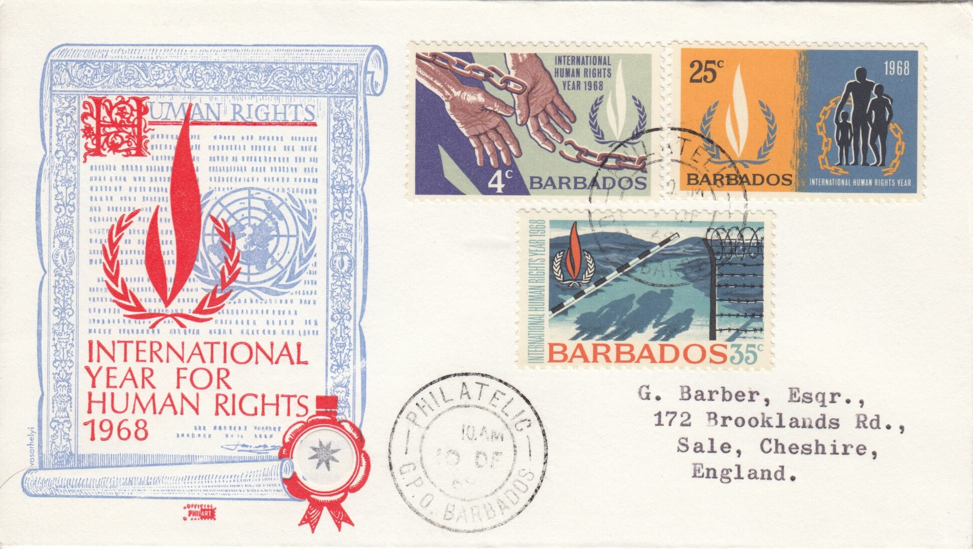 Barbados 1968 International Year for Human Rights FDC - illustrated cover