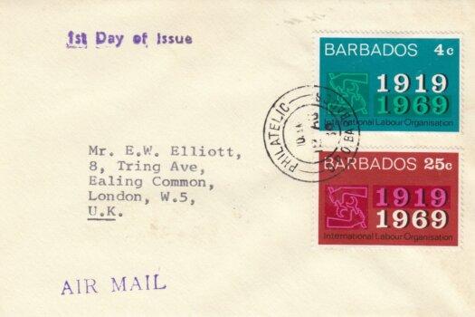 Barbados 1969 ILO FDC - plain cover