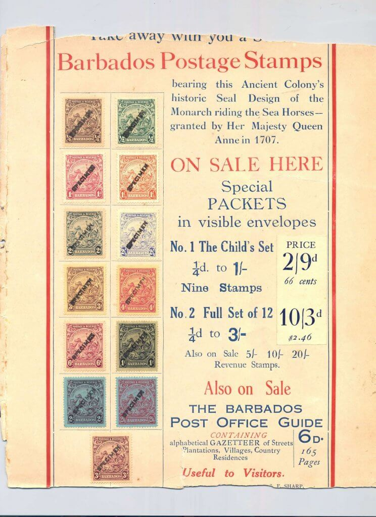 Barbados Stamps specimen stamps advertisement