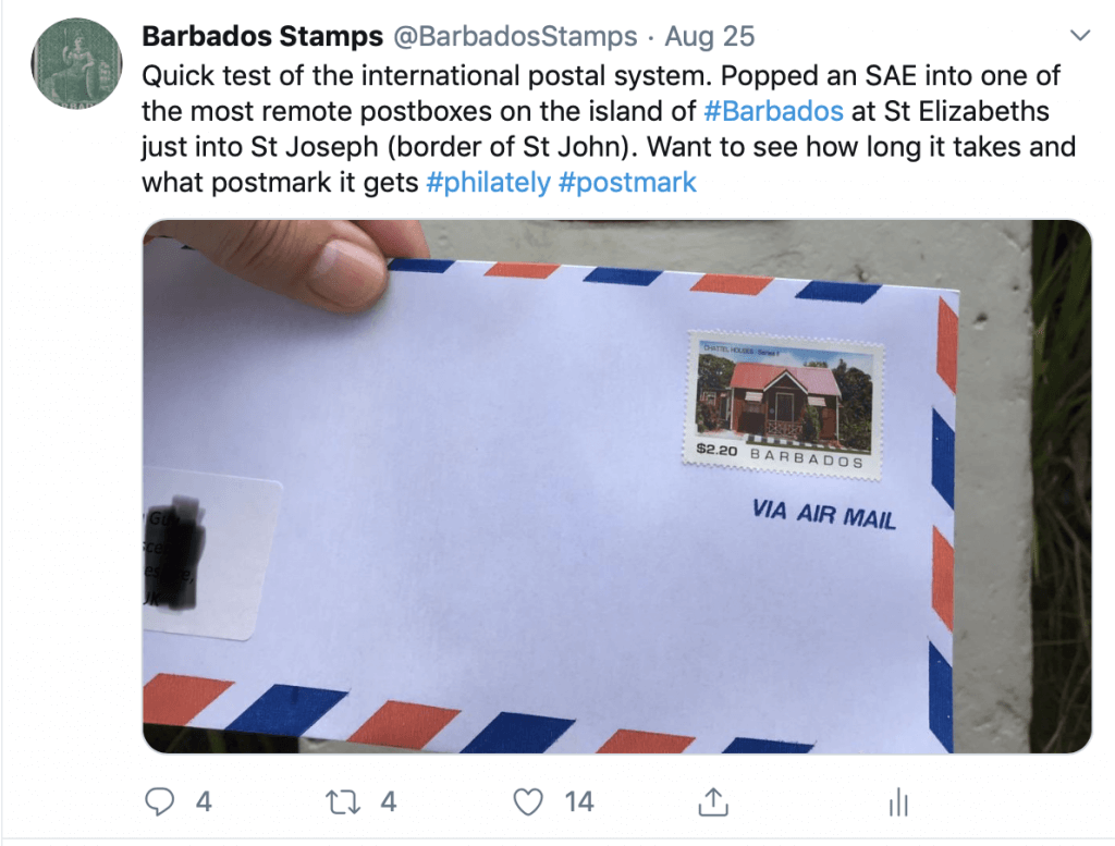 Barbados Stamps tweet August 2019
