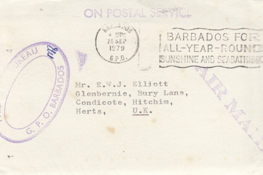 1979 'freepost' philatelic cover to UK from Barbados