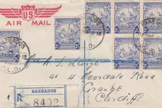 Barbados 1946 Registered letter to Cardiff at 1/5½d rate