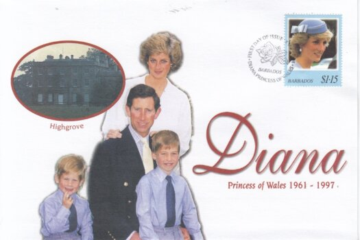 Barbados 1998 FDC Princess Diana on commemorative cover (4 of 4)