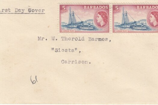 Barbados 1954 FDC 5c pair on plain cover addressed locally but stamps not cancelled or tied to cover