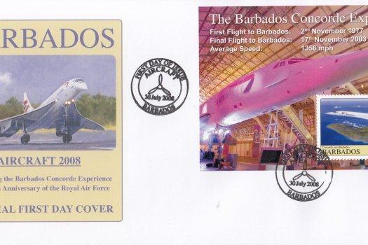 Barbados 2008 Concorde Experience & 90th Anniversary of the RAF Souvenir Sheet FDC