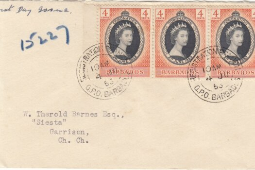 Barbados 1953 FDC Coronation of QEII on plain cover