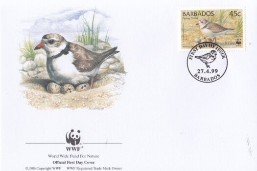 Barbados 1999 Wildlife (Piping Plover) WWF Official FDC 2 of 4