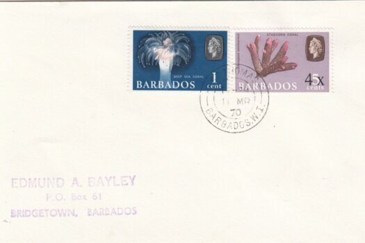 Barbados 1970 FDC of 5c surcharged 4c, overprinted locally, on plain cover