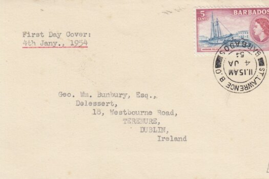 Barbados 1954 FDC 5c on plain cover to Dublin