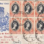 Barbados 1953 FDC Coronation of QEII 8 x 4d on commemorative cover
