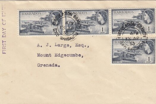 Barbados 1953 FDC 4 x 1c on plain cover to Grenada