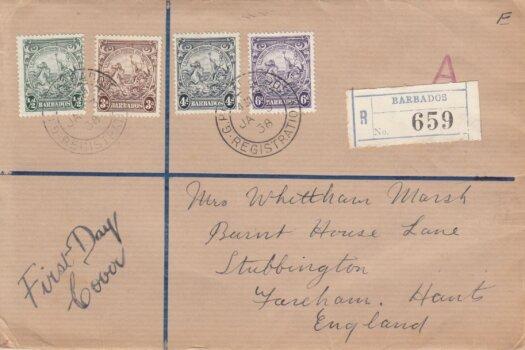 Barbados 1938 definitives ½d, 3d, 4d & 6d on plain FDC