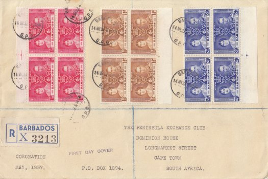 Coronation 1937 blocks of four on large FDC