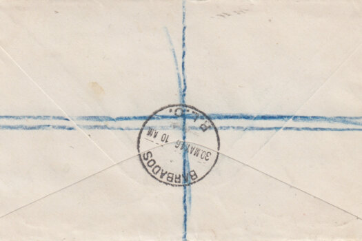 Reverse of Barbados 1946 Registered letter to Cardiff at 1/5½d rate