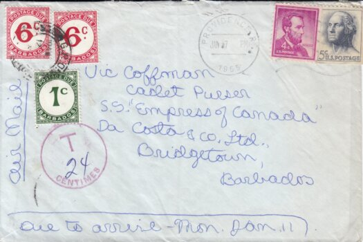 Barbados Postage Due cover inbound fro USA