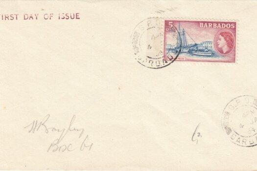 Barbados QEII 1953 commemorative FDC - 5c
