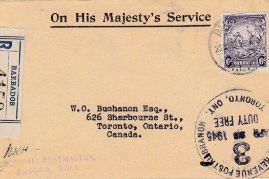 Barbados 6d Registered letter to Toronto, Canada 1945
