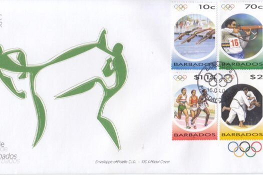 Barbados 2004 The Games of the XXVIII Olympiad 2004 in Athens FDC (IOC Official Cover)