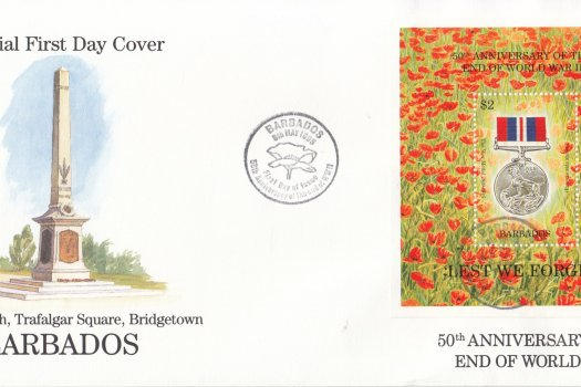Barbados 1995 50th Anniversary of the end of World War II Souvenir Sheet FDC