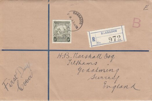 Barbados 1938 1/- Olive Green SG255 FDC on plain cover