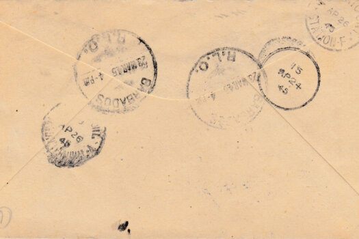 Reverse of Barbados 6d Registered letter to Toronto, Canada 1945