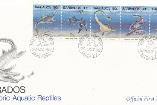 Barbados 1993 Prehistoric Aquatic Reptiles FDC